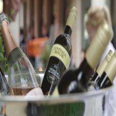 Bottles of wine in ice bucket Stock Footage