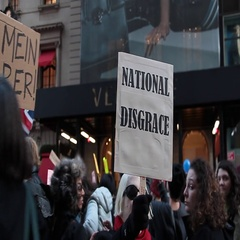 Donald Trump Protesters Hold Angry Signs Stock Footage