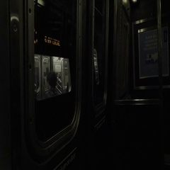 Subway carriage interior in motion, moving MTA train window NYC Stock Footage