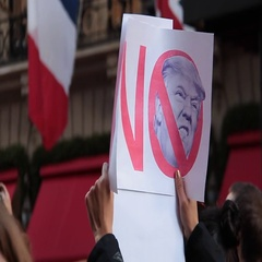 CU of Signs Donald Trump Protests Stock Footage