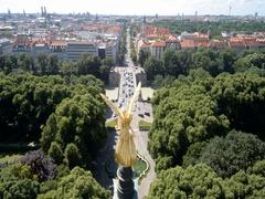 Friedens Engel Aerial view Munchen Stock Footage