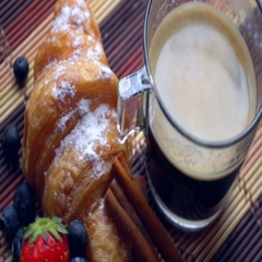 Coffee with croissent and berries Stock Footage