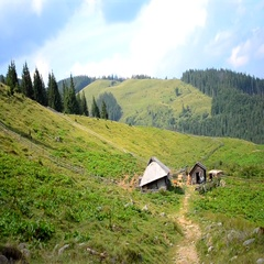 Old lonely houses in the mountains Stock Footage