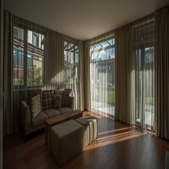 The interior of the hotel room on the background of cloud stream. Wide angle Stock Footage