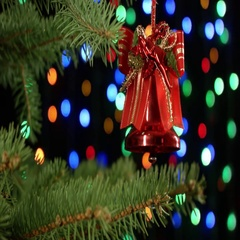 Christmas bell for tree decoration on holiday background colorful blurred Stock Footage