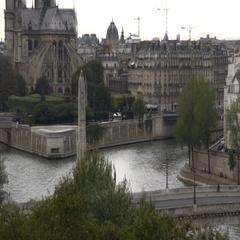 High establishing shot, Notre-Dame Cathedral, Paris Stock Footage