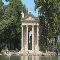 Villa Borghese, Rome, Italy, view of Esculapio temple with people on rowing boat Stock Footage