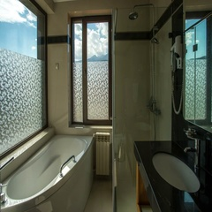 The luxury bathroom on the background of the cloud stream. Time lapse Stock Footage