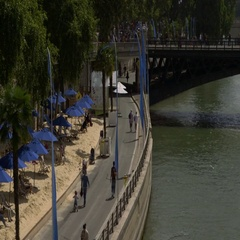 Paris Plage urban summer beach replaces Seine River highway Stock Footage