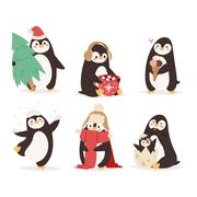Penguin set vector characters Stock Illustration