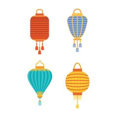 Chinese lanterns vector illustration. Piirros