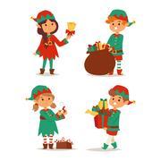Santa Claus kids cartoon elf helpers Stock Illustration