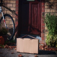4k Mailbox Delivery on House Door, Child Received VR set in Parcel Stock Footage