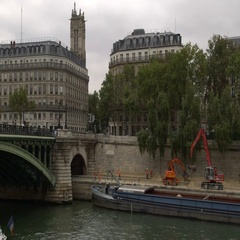 Paris Plage summer beach under construction on Seine River Stock Footage