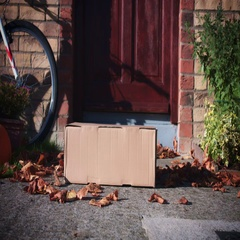 4k Mailbox Delivery on House Door, Child Taking the Parcel Stock Footage