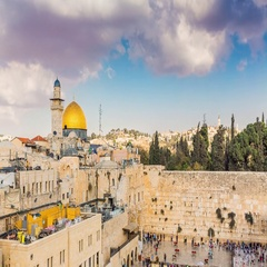 View to Western Wall or Kotel in Jerusalem - Time Lapse, Tilt Down Stock Footage