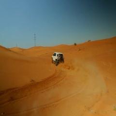 FJ Cruiser drifting on desert. Stock Footage