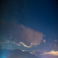 The mountain on the background of the picturesque cloud stream. Wide angle Stock Footage