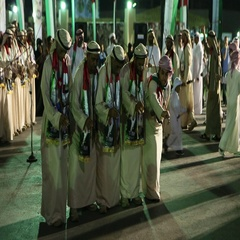 UAE stick dancers performing during UAE National Day celebration at Dubai, Stock Footage