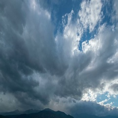 The beautiful mountain on the background of rain cloud. Wide angle. Time lapse Stock Footage
