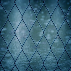 Moving Past Wire Fence In The Rain Stock Footage