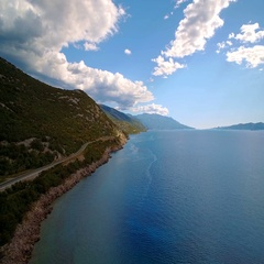 Aerial, Flying Along Croatian Coast-Line - Graded and stabilized version Stock Footage