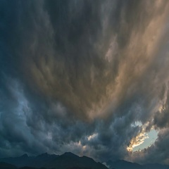 The beautiful mountain on the background of rain cloud. Wide angle Stock Footage