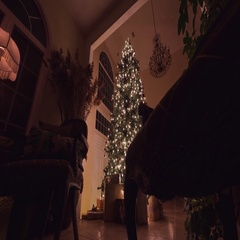 Big Christmas tree with glowing lights, ornaments, and presents. Stock Footage