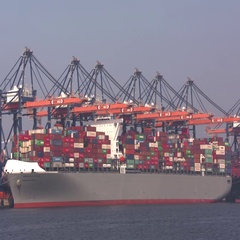 Large container ship at container terminal Euromax ECT Rotterdam Stock Footage