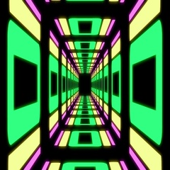 Abstract neon vanishing point tunnel background seamless loop Stock Footage
