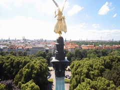 Munich Angel of Peace Aerial video Stock Footage