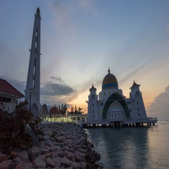 Beautiful Sunrise At Malacca Straits Floating Mosque Stock Footage
