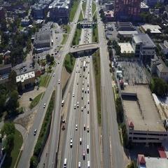 I-35 Traffic Downtown Austin, Texas Stock Footage