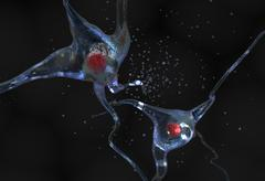 Nerve cell with nucleus 3d illustration Stock Illustration