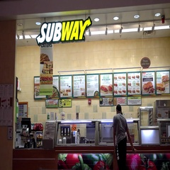4K Food Court Subway sandwich menu counter, ordering food Stock Footage