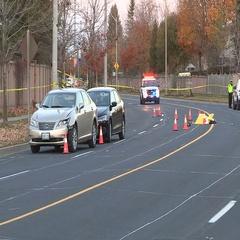 Pedestrian killed by car on Markham city street Stock Footage