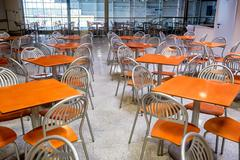 Empty modern style canteen with nobody using area Stock Photos