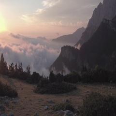 Rotating Reveal Mountain Sunrise Stock Footage