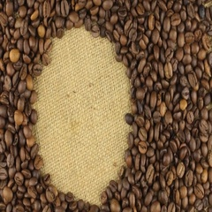 Rotation of the coffee beans lying on sackcloth with space for your text Stock Footage