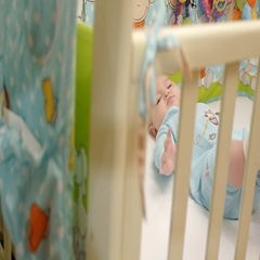 Baby is in the playpen Stock Footage