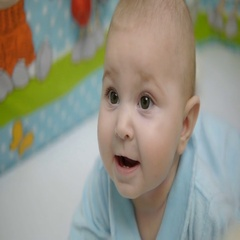 Baby girl 6 months laughing, close-up Stock Footage
