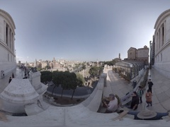 National Monument of Victor Emmanuel II, in Rome, Italy, 360 video VR Stock Footage