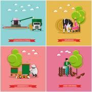 Vector set of farming, beekeeping, harvesting Stock Illustration