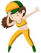 Happy girl doing breakdancing Stock Illustration