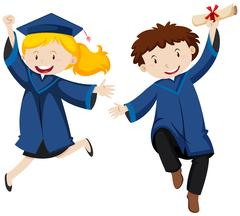 Graduation ceremony with two students Stock Illustration