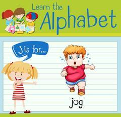 Flashcard letter J is for jog Stock Illustration