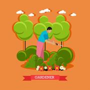 Gardener trimming hedges, flat design Stock Illustration