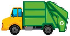 Rubbish truck with green container Stock Illustration