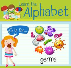 Flashcard letter G is for germs Stock Illustration