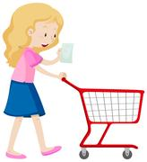 Woman read shopping list and pushing cart Stock Illustration